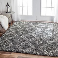nuLOOM Alexa My Soft and Plush Moroccan Trellis White/ Grey Easy Shag Rug (5'3 x 7'6) | Overstock.com Shopping - The Best Deals on 5x8 - 6x9 Rugs