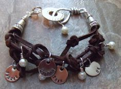 Personalized Leather and Pearl Mom Bracelet by BraceletsbyLinda, $75.00