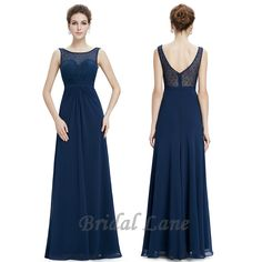 Navy blue evening dress with illusion neckline.  Evening dresses for matric ball / matric farewell in Cape Town - Bridal Lane ♥
