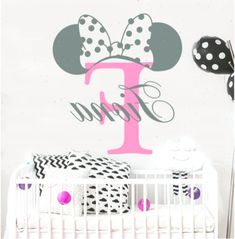 Girls Name Wall Decal,Mickey Mouse Decal, Monogram Letter, Minnie Mouse Ears, Nursery Decor Girl, Girl Room Decor, Custom Name Art  (MA175) #babygirlnurserythemes #Art #babaygirl #babygirlnurserythemesminniemouse #babygirlnursey #Custom #Decal #DecalMickey #Decor #ears #Girl #Girls #letter #MA175 #Minnie #Monogram #Mouse #Nursery #Room #Wall Baby Girl Nursey, Baby Girl Nursery Themes, Nursery Room, Nursery Decor, Room Decor, Name Wall Decals, Name Art, Mouse Ears, Monogram Letters