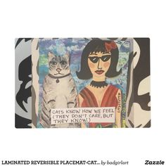 LAMINATED REVERSIBLE PLACEMAT-CATS KNOW HOW WE PLACEMAT