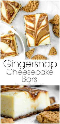 Gingersnap Cheesecake Bars are creamy cheesecake with swirls of delicious cookie butter running through it, baked on top of a gingersnap cookie crust. It is a delicious cheesecake recipe that makes a great dessert for Thanksgiving or Christmas dessert! Christmas Desserts Easy, Great Desserts, Thanksgiving Desserts, Christmas Baking, Christmas Sweets, Christmas Dessert Recipes, Kids Thanksgiving, Holiday Recipes, Tolle Desserts