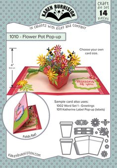 Karen Burniston Flower Pot Pop-Up Die 1010 - Karen Burniston - HixxySoft Pop Up Flower Cards, Pop Up Flowers, Pop Up Box Cards, Kirigami, Fancy Fold Cards, Folded Cards, Pop Up Karten, Tarjetas Pop Up, Poppy Cards