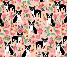 Boston Terrier Sweet watercolor flowers florals spring dogs pet puppy fabric by petfriendly on Spoonflower - custom fabric