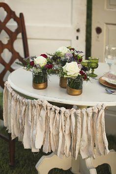 diy fabric fringe wedding decor ideas http://www.weddingchicks.com/2013/10/01/plum-and-gold-wedding/
