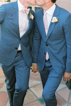 Photographed by Michael + Anna Costa, this California same sex wedding was full of flowers including roses and ranunculuses in shades of cream and blush. Groom And Groomsmen Style, Groom Attire, Wedding Blog, Wedding Events, Weddings, Wedding Ideas, Pictures Plus, Rustic Elegance, Wedding Poses