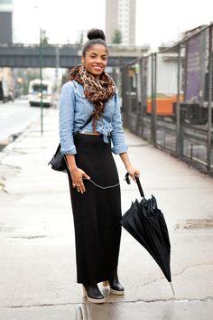 black maxi, chambray, scarf
