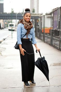 black maxi, chambray, scarf
