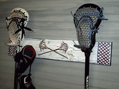 Lacrosse Stick Hanger Wall Rack Lax Team Colors Name Number Equipment Hooks Sports Theme Room Decor Personalized.  via Etsy.