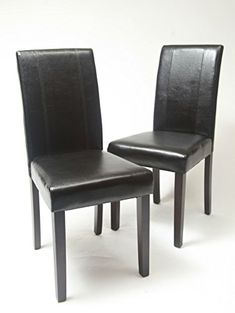 66f7dbad5560 Set of 2 pcs Faux Leather Dining Chair Wood Frame   Legs Foam