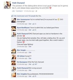 EXO Facebook. Chanyeol being caught commenting on his own stuff. This seems so legit. I can't.