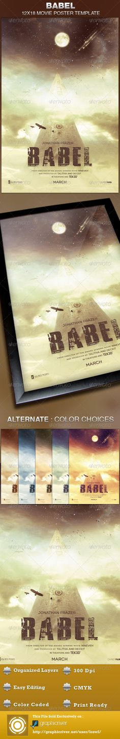 This Babel Movie Poster Template is sold exclusively on graphicriver, it can be used for your movie promotion, event marketing, church movie night, sermon marketing etc. In this package you'll find 1 Photoshop file. All text and graphics in the file are editable, color coded and simple to edit. The file also has 6 one-click color options.  $6.00