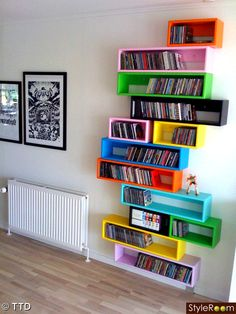 Great DIY cd storage idea! I don't just want a shelf to house all the cds we own. -- from http://www.stylerooms.dk