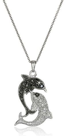 Sterling silver black and white diamond key pendant necklace 14 sterling silver black and white diamond dolphin pendant neck mozeypictures Images
