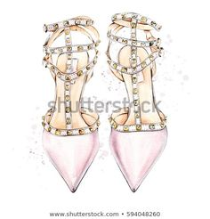 Watercolor illustration of hand painted pink women's high heel shoes Valentino High Heels, Butterfly Mask, Twinkle Star, Minimalist Poster, Painted Shoes, Watercolor Illustration, Beautiful Images, Poster Prints, Art Prints