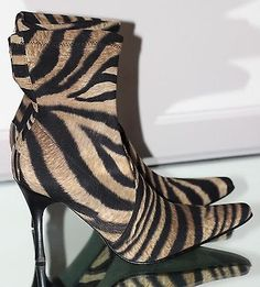 Donald J Pliner Black & Camel Tiger Animal Print Stretch Ankle High Heel Boots 8. #thrifted #forsale