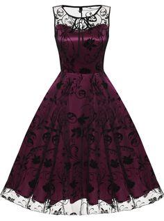 Rose red Retro Women Sleeveless Mesh Long Party Dress