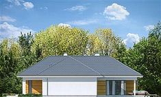 Dom z widokiem 6 House Blueprints, Facade House, Modern House Design, Pergola, Garage Doors, Shed, Villa, Floor Plans, Outdoor Structures