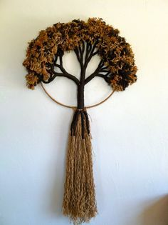 Vintage Tree of Life Fiber Art Wall Hanging by HotCoolVintage Yarn Crafts, Diy And Crafts, Arts And Crafts, Tapestry Weaving, Loom Weaving, Art Textile, Hanging Wall Art, Wall Hangings, String Art
