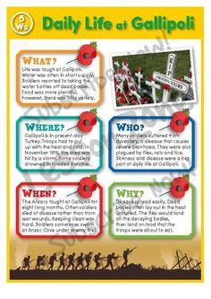 Lesson Zone AU - Daily Life at Gallipoli Remembrance Day Activities, Remembrance Day Poppy, Anzac Day Australia, Poppy Craft, Anzac Biscuits, Family Day Care, Thinking Day, Activities For Kids, Reading Activities