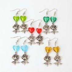 PandaHall Jewelry—Handmade Silver Foil Glass Earrings with Tibetan Style Rose Pendants | PandaHall Beads Jewelry Blog