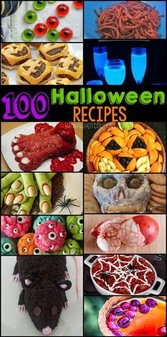 Here is a HUGE list of Halloween Recipes! There are so many really fun, easy & adorable ideas. Spooky, fun, disgusting edible fingers and eyes & much more! Source by Dessert Halloween, Halloween Dinner, Halloween Goodies, Halloween Food For Party, Halloween Birthday, Holidays Halloween, Spooky Halloween, Halloween Treats, Happy Halloween