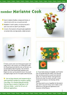 Marigolds tutorial page AIM IMag issue Miniature Plants, Miniature Dolls, Miniature Tutorials, Tiny Flowers, Paper Flowers, Craft Flowers, Diy Dollhouse, Dollhouse Miniatures, Tips And Tricks