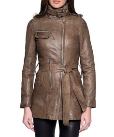 Katia stone leather jacket  by JOHN & YOKO on secretsales.com
