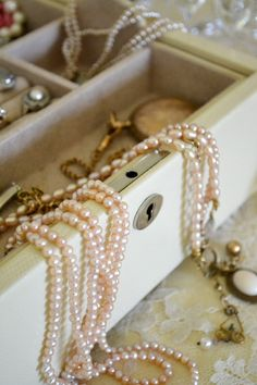 grandmas was full of brooches, clip on earrings,strands of pearls and a few cameos.