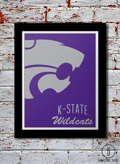 KSU Wildcats Graphic Print Kansas State by DimestoreSaintDesign