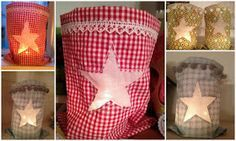 ein Stück Stoff, ca gross ein etwas dünnerer Stoff ca 10 x 10 cm gr. a piece of fabric, about large a slightly thinner material about 10 x 10 cm large as a template a star, on Handmade Crafts, Diy And Crafts, Crafts For Kids, Kids Collage, Christmas Decorations, Holiday Decor, Candle Lanterns, Candles, Teaching Art