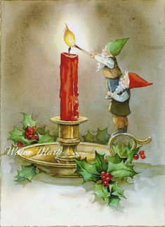 GNOME*Digital download instant*lights candle*great*Collage*Decoupage*Button cards*Digital Download