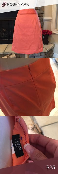 J. Crew Pencil Skirt New without the tag. Peach colored pencil skirt. Hidden back zip. Tag reads stretch but it does not stretch! J. Crew Skirts Midi