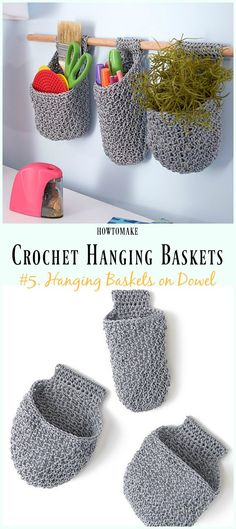 Crochet Hanging Baskets on Dowel Free Pattern- Hanging #Basket; Free #Crochet; Patterns