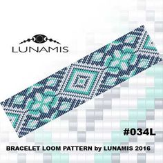 Bracelet pattern, loom pattern, square stitch pattern, pdf file, pdf pattern, cuff, #034L by LunamisBeadsPatterns on Etsy