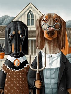 Miriam Martincic: American Dachshund by Grant Woof Dachshund Art, Dachshund Gifts, Dachshund Puppies, Dachshunds, Daschund, Dog Restaurant, American Gothic, Dog Illustration, Animal Heads