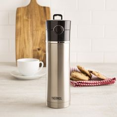 This genuine Thermos brand beverage bottle is perfect for hot and cold drinks. The vacuum insulated, stainless steel design will keep hot beverages hot for up to 12 hour and cold beverages cool for up to 24 hours.