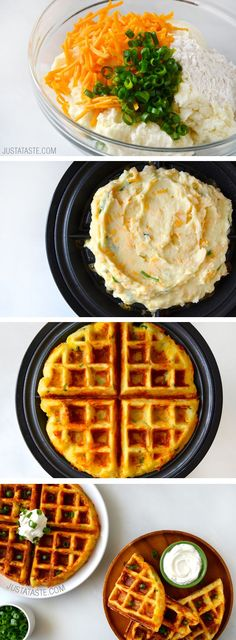 2 1/2 Cupsleftover mashed potatoes. 3 Tablespoonschopped scallions. 2 Eggs, large. 1/2 Cupall-purpose flour. 2 Tablespoonsvegetable oil. 1 Waffle baker. 1 Cupshredded cheddar cheese. 1 Sour cream. 1/4 Cupbuttermilk. 1/2 Teaspoonbaking powder. 1/4 Teaspoonbaking soda.