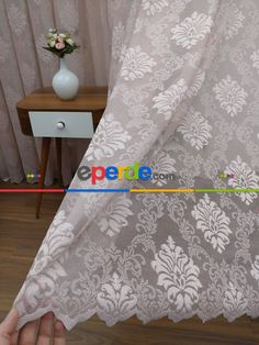 Pudra Pembe Taç Dantel Tül Perde ( Damask Desenli) Düz Pileli Ve Kruvaze Model Curtains, Model, Home Decor, Blinds, Interior Design, Draping, Home Interior Design, Models