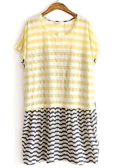 Yellow Striped Pacthwork Chiffon Short Sleeve Cotton T-shirt