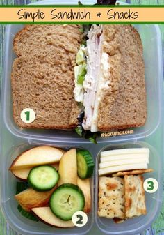 Packing a fast healthy lunch in @Kelly Teske Goldsworthy Teske Goldsworthy Lester / EasyLunchboxes is as easy as 1,2,3
