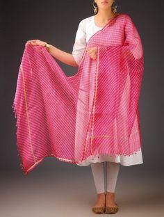 Pink-Ivory Silk Kota Doria Leheriya Printed Dupatta