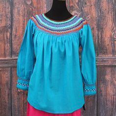 Turquoise & Multi Color Hand Embroidered Blouse Maya Chiapas Mexico Hippie Boho  #Handmade #blouse