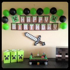 Lego Birthday Party Ideas for Boys - Minecraft - Minecraft Birthday Decorations, Minecraft Birthday Cake, Minecraft Party Ideas, Lego Minecraft, Minecraft Crafts, Minecraft Skins, Minecraft Buildings, 9th Birthday Parties, Lego Birthday Party