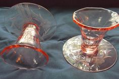 Pink Depression glass vintage pair candleholders cut flowers leaves from saltymaggie on Ruby Lane