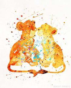 Simba and Nala, The Lion King Disney Watercolor Print. Disney Pixar, Simba Disney, Disney Lion King, Disney Art, Lion King Poster, Lion King Art, The Lion King, Nala Lion King, Disney Tattoos