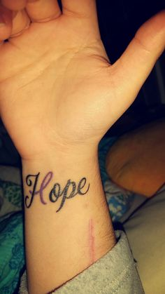 My first tattoo and not my last! Hope tattoo with pancreatic cancer ribbon!!
