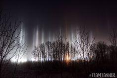 Light pillars seen on the morning of 12/9/16 from Blackfalds,AB.