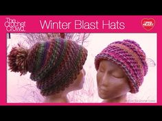 Winter Blast Crochet Hat Tutorial. Learn how to make a textured winter hat using a free pattern. These hats are using Red Heart Boutique Treasure which has a...