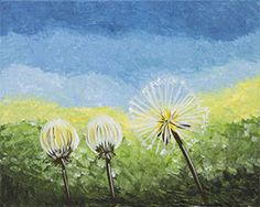 """Social Artworking Canvas Painting Design - Dandelion Trio  Everyone's childhood included picking and blowing dandelion seeds into the warm summer air. Transport yourself back to those long, relaxing summer days of your youth by painting this summer icon. A glass of lemonade and some cool cucumber sandwiches will have you feeling that warm, summer sun kissing your cheeks.  CANVAS SIZE:  16"""" x 20""""  TIME TO PAINT:  approximately 1 hour 30 minutes"""